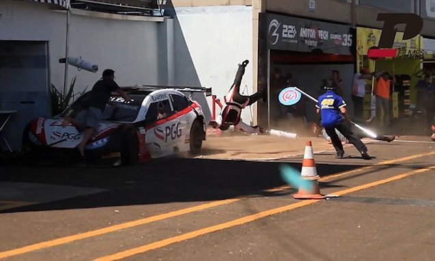 Racing driver smashed into mechanics in pit lane leaving four injured