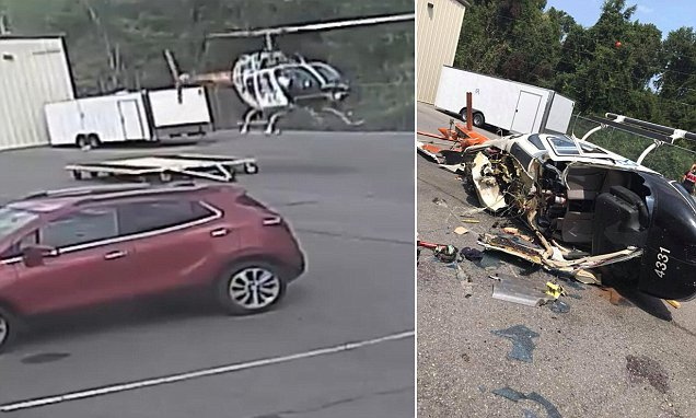 Horrifying footage shows police helicopter crash