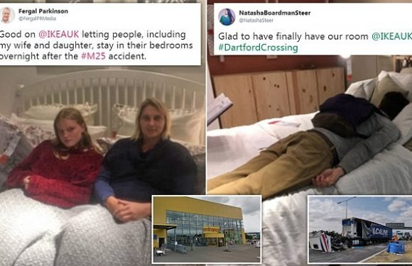 Up to 200 motorists are given beds for the night at an IKEA STORE