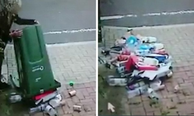 Homeowner catches neighbour dumping RUBBISH on his drive