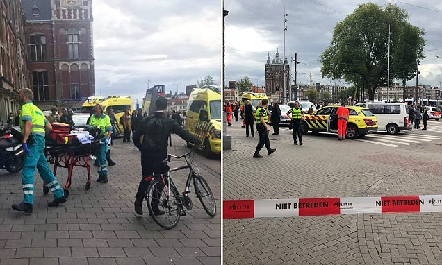 Attacker shot after two people are stabbed at Amsterdam rail station