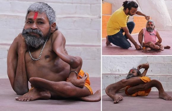 Two foot tall Indian priest suffers from mystery condition that 'causes his bones to twist and STOPS him growing'