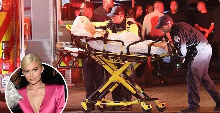 Carnage at Kylie Jenner's birthday party as ambulance arrives to take guest away on a stretcher at club in Los Angeles