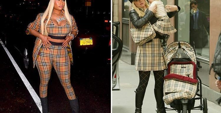 Nicki Minaj takes fashion inspiration from Danniella Westbrook as she dresses head to toe in Burberry check