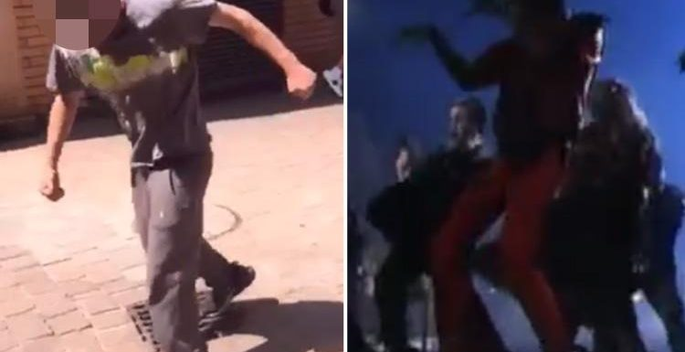 Commuter blasts 'Thriller' by Michael Jackson at 'spice zombie' shuffling outside train station