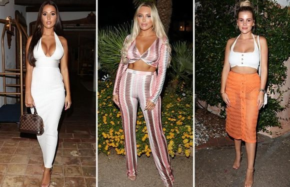 Towie's Yazmin Oukhellou and Amber Turner glam up in plunging outfits as they join cast for dinner on trip to Sardinia