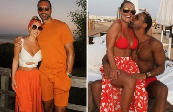 Kate Wright and Rio Ferdinand wear matching orange outfits on romantic night out in Portugal
