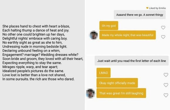 Single guy sends a very cheeky message to Tinder match who asked him to write her a poem…can you spot it?