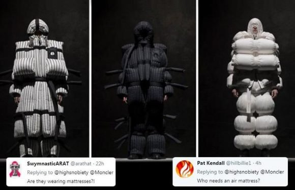 Designer Moncler is ridiculed for their latest fashion range which people are comparing to SLEEPING BAGS