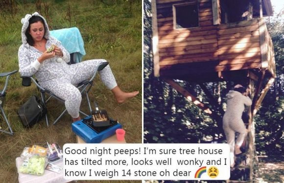 Lisa Appleton fears her tree house is falling down because of her 14-stone frame