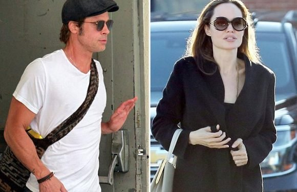 Brad Pitt looks stony faced as he visits lawyer's office while estranged wife Angelina Jolie goes shopping with their kids