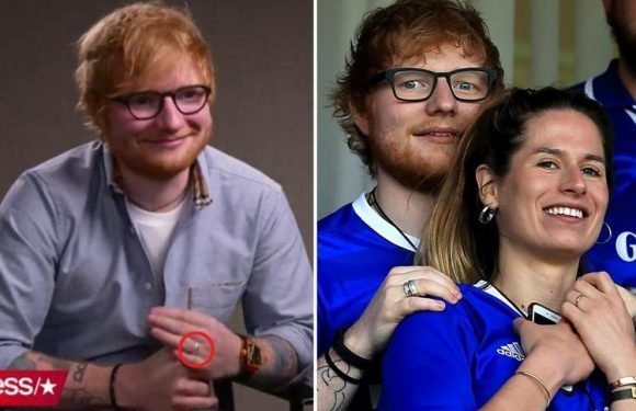 Ed Sheeran hints he's married fiancée Cherry Seaborn in a secret wedding as he blushes and points to his 'wedding ring' during interview