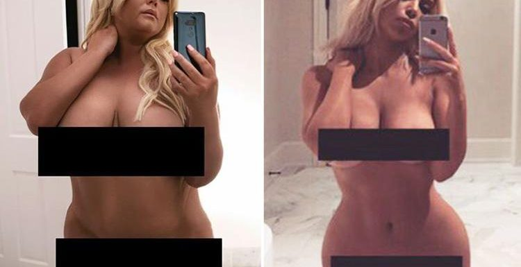 Gemma Collins recreates Kim Kardashian's famous pictures as she goes naked, poses for swimsuit belfie and swigs milk in her underwear