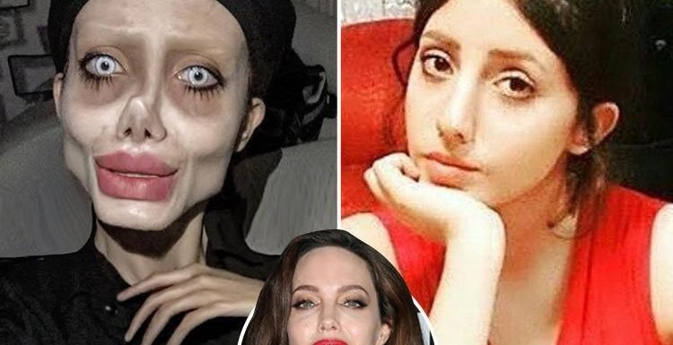 Angelina Jolie 'lookalike' Sahar Tabar shares haunting snap of hollowed cheeks and skinny arms (but is it all just clever editing?)