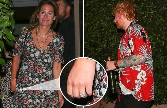 Ed Sheeran and Cherry Seaborn go on a double date with Courteney Cox and Johnny McDaid – but Cherry ISN'T wearing a wedding ring after Ed hinted they'd got married