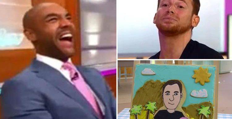 Good Morning Britain's Joe Swash and Alex Beresford can't stop giggling over Great British Bake Off contestant's 'rude' biscuit