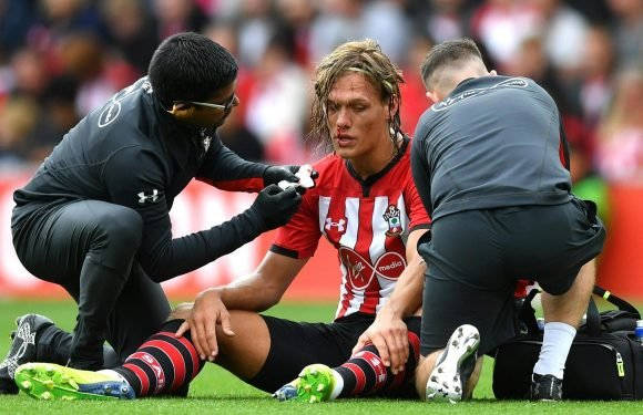 Jannik Vestergaard suffers bloody nose on Premier League bow as Southampton new boy is floored against Burnley