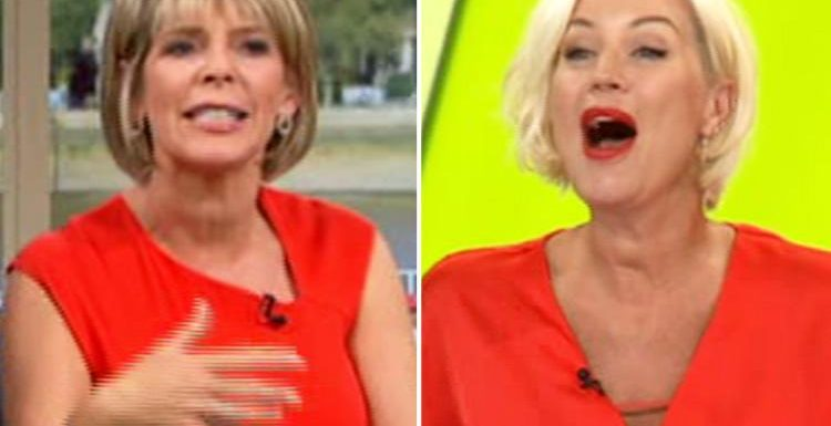 This Morning's Ruth Langsford asks who Denise Van Outen is live on air without realising her mic is on