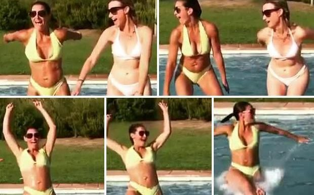 Sky Sports News legend Kirsty Gallacher wows in a yellow bikini as she backflips into a swimming pool on holiday