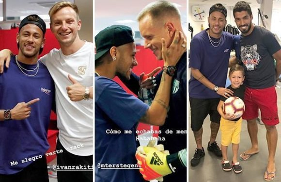 Neymar given hero's welcome as he heads back to Barcelona to see old team-mates including Luis Suarez