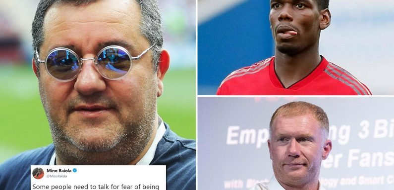 Paul Pogba's agent Mino Raiola launches scathing attack on Manchester United legend Paul Scholes after dig over 'lack of leaders'