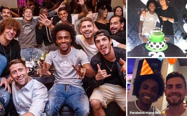 Chelsea stars enjoy football-themed party at posh Mayfair restaurant Babbo to celebrate Willian's 30th birthday