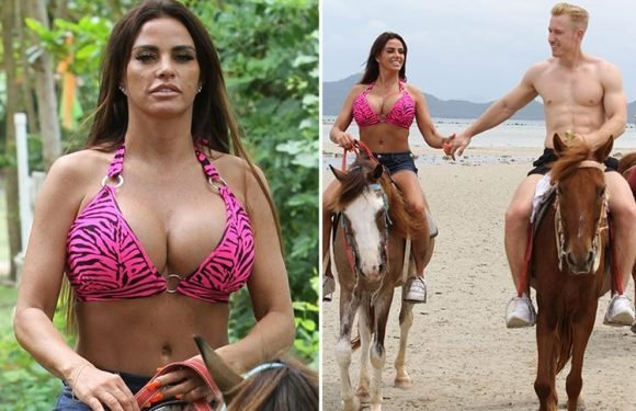 Busty Katie Price shows off her cleavage as she goes horseriding in her bikini in Thailand with boyfriend Kris Boyson