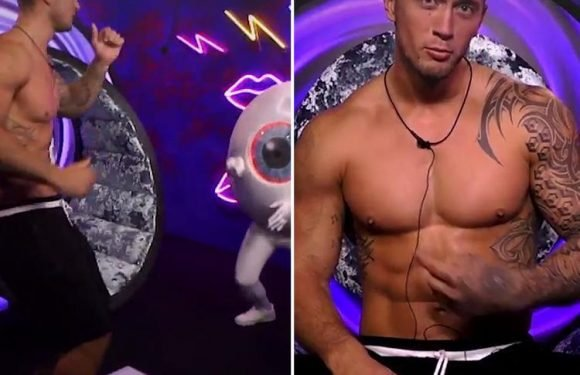 Celebrity Big Brother's Dan Osborne struggles to be fascinating so does a sexy dance and wiggles his pecs to impress during task