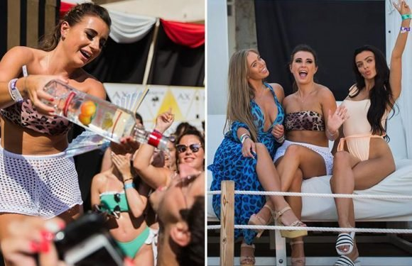 Dani Dyer leaves Jack Fincham at home to party at Majorca hotel with former Love Islanders Kady McDermott and Tyne-Lexy Clarson