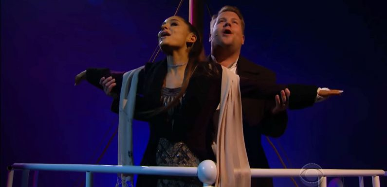 This Video of Ariana Grande and James Corden Recreating 'Titanic' in Musical Form Is Everything