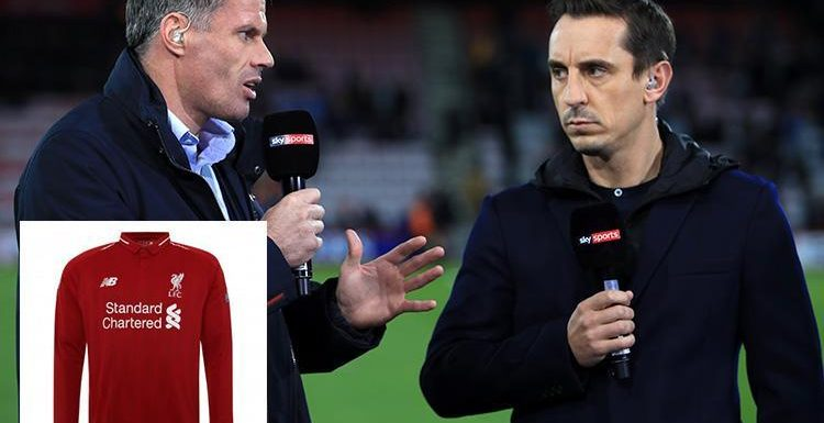 Gary Neville must wear Xherdan Shaqiri's Liverpool shirt with cheeky message after the Manchester United legend lost bet with Jamie Carragher