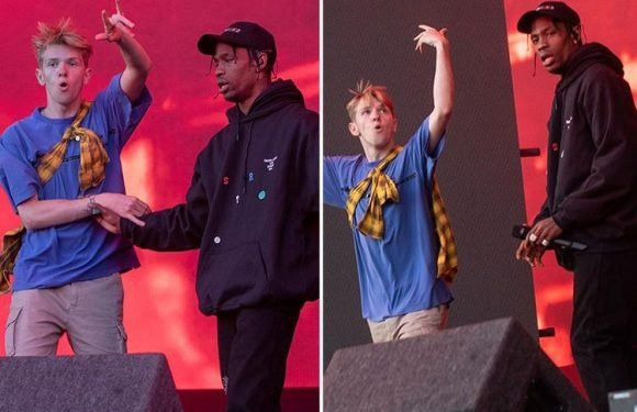 Kylie Jenner's boyfriend Travis Scott targeted by stage invader who breached security and jumped a fence during his set at Leeds Festival