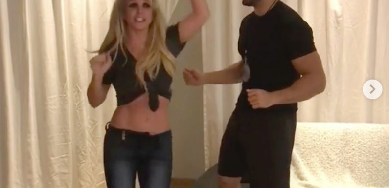 Britney Spears and Her Boyfriend Dance It Out After He Flies to Belgium Before Her Show