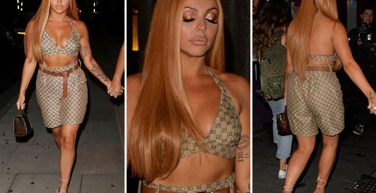 Jesy Nelson flashes her abs in designer bralet and matching shorts as she enjoys a night out in London