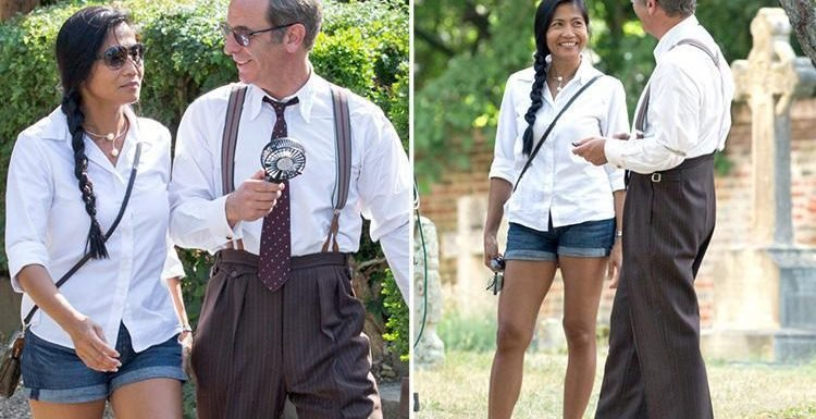 Robson Green spotted for the first time with girlfriend who left her vicar husband for him as pair look loved-up on the set of Grantchester