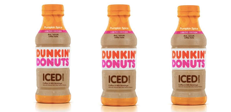 Dunkin' Donuts' Bottled Pumpkin Spice Iced Coffee Is Coming For An On-The-Go Sip
