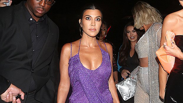 Kourtney Kardashian Shows Younes What He's Missing In Plunging Purple Mini For Kylie's Bday