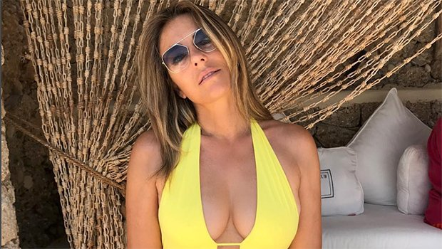 Elizabeth Hurley, 53, Flaunts Cleavage In New Deep Plunge Swimsuit Pic — See All Her Neon Bright Suits