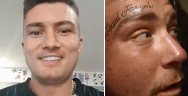Laughing Irish tourist pays homeless Brit to get his name tattooed on his forehead and boasts this is his 32nd victim