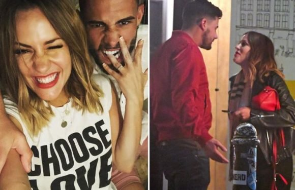 Caroline Flack storms out of east London restaurant after tense public row with on-off fiancé Andrew Brady