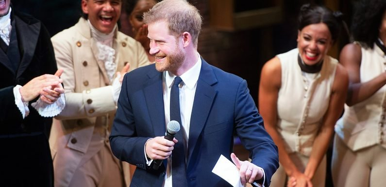 Watch Prince Harry Break Into Song as King George on Stage at 'Hamilton'