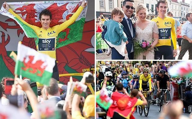 Tour de France winner Geraint Thomas poses with newly married couple at Cardiff Castle in front of thousands for celebrations