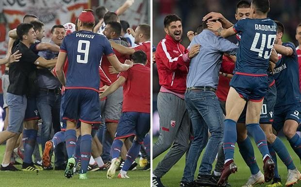 Red Star Belgrade fans invade pitch and rip shirts off their own players after unlikely Champions League comeback