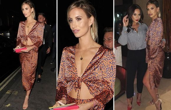 Ferne McCann wears plunging two piece for birthday night out with best pal Vicky Pattison