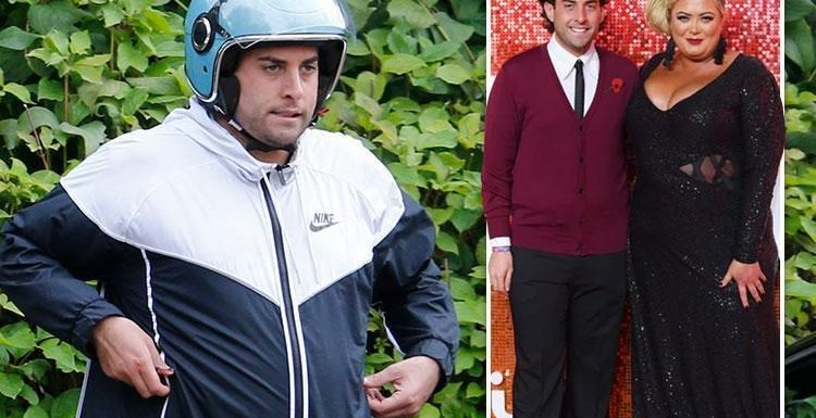 James Argent pictured looking downcast at Gemma Collins' Essex home before checking into rehab