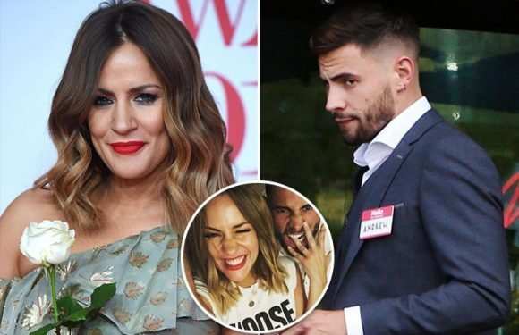 Andrew Brady looks miserable as he wears a name badge at event after Caroline Flack takes him back