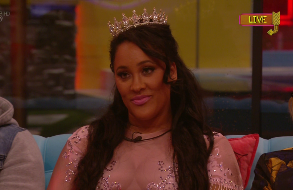Natalie Nunn stumbles as she leaves Celebrity Big Brother in awkward silence after being the first to be evicted