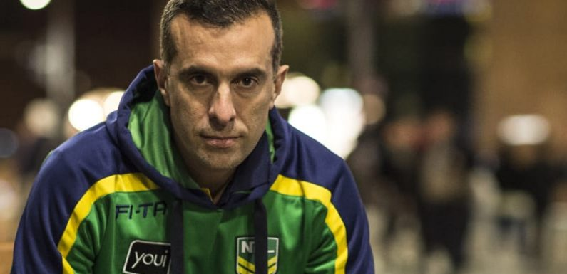 Raiders coach Ricky Stuart goes in to bat for NRL referee Matt Cecchin