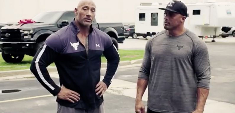 Dwayne Johnson's Stunt Double — and Cousin — Cries as He Receives Surprise Gift from Star