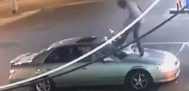 Woman says maniac jumped on her car, bashed her windshield after she rejected his advances